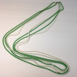 Vintage green & white multi strand bead necklace